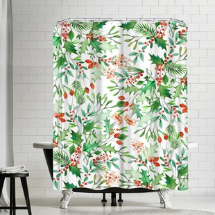 Victoria Nelson Christmas Berries Single Shower Curtain