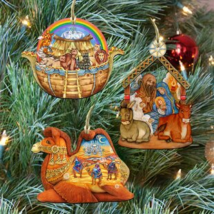 3 piece story of nativity ornaments set