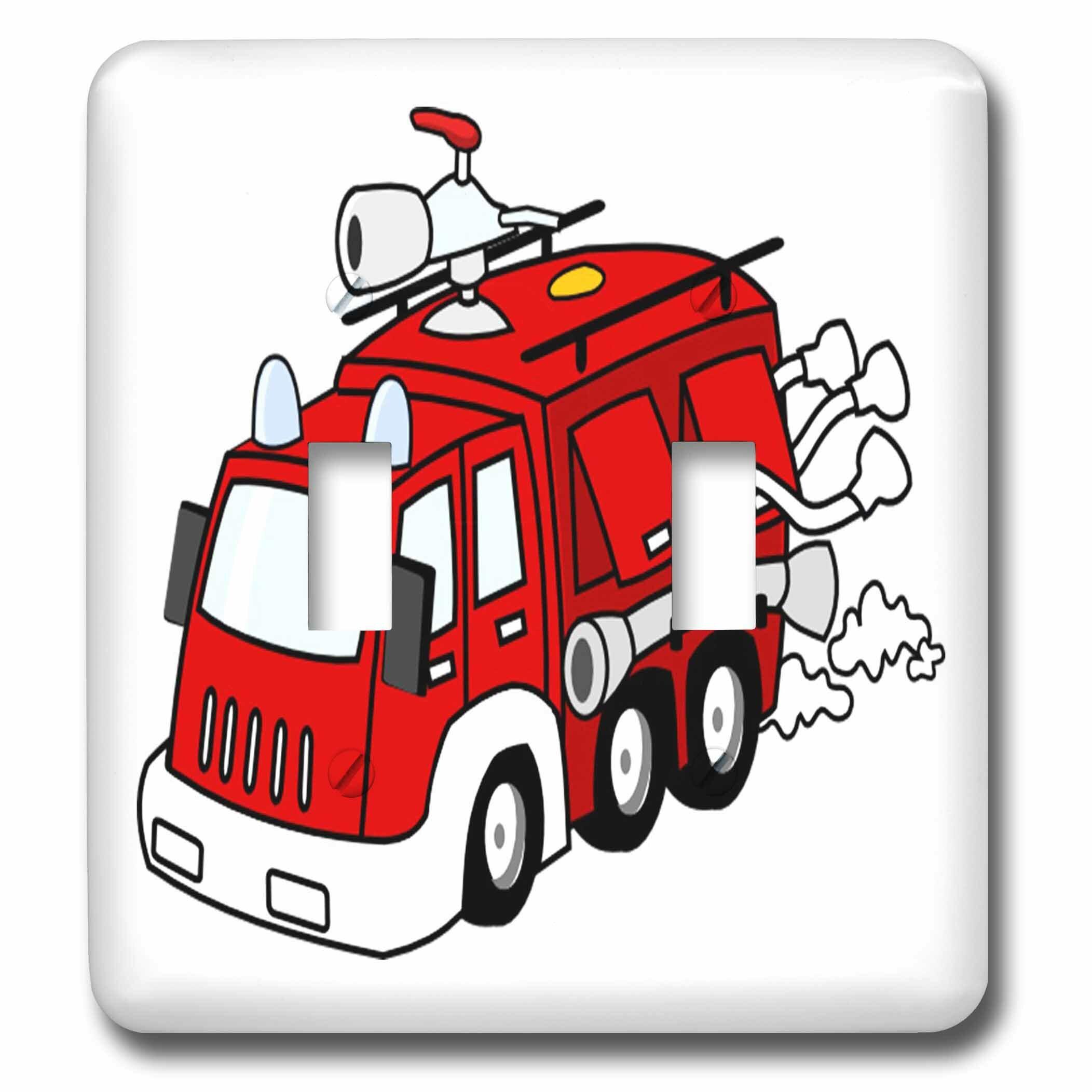 3drose Cute Fire Truck 2 Gang Toggle Light Switch Wall Plate Wayfair