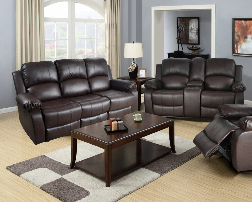 Leather Living Room Set Red Barrel Studio Mayday 2 Piece Leather Living Room Set & Reviews