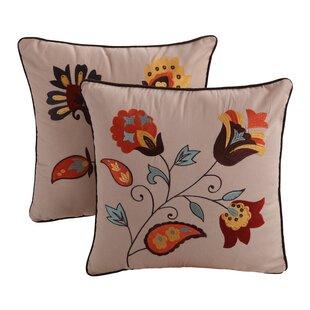 Zahara Embroidered Cotton Throw Pillow (Set of 2)