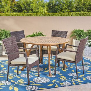 Gilmartin 5 Piece Teak Dining Set with Cu..