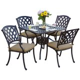 Campton Contemporary 5 Piece Dining Set with Cushion