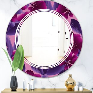 Triple C Orchid Blossom Pattern Cottage Americana Frameless Wall Mirror by East Urban Home
