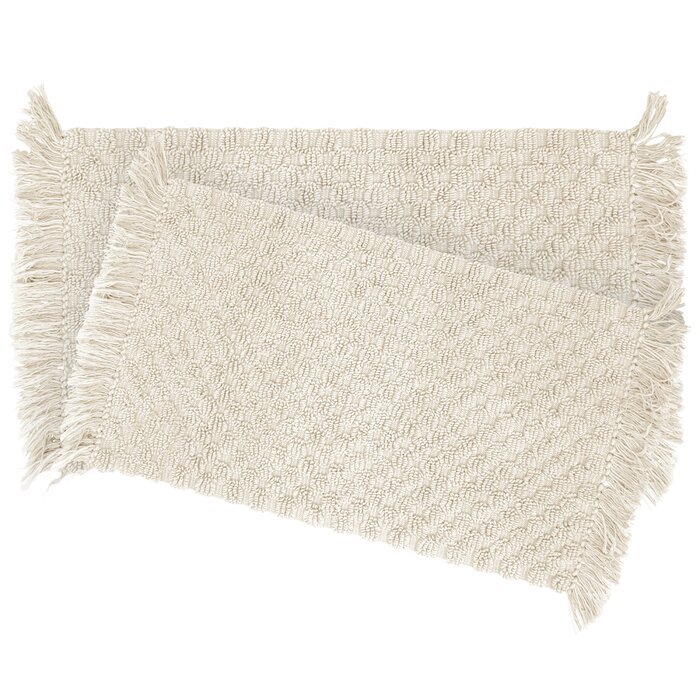 French Connection Comerford 2 Piece Beaded Cotton Bath Rug Set