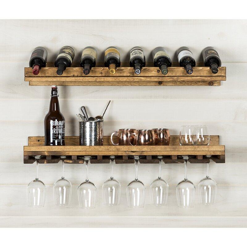 Berlyn 2 Piece 8 Bottle Wall Mounted Wine Rack Set