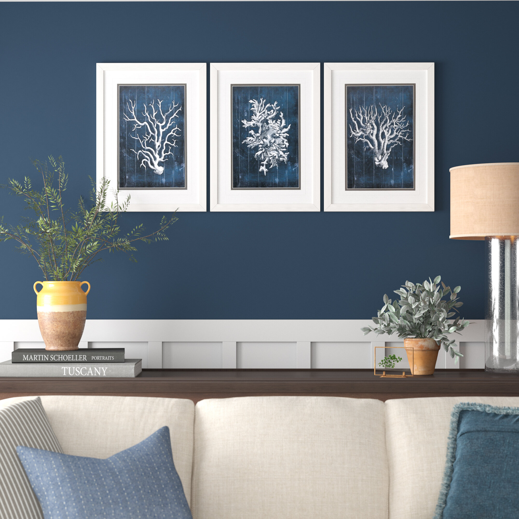 Wood Coral 3 Piece Picture Frame Graphic Art Print Set On Paper Reviews Birch Lane