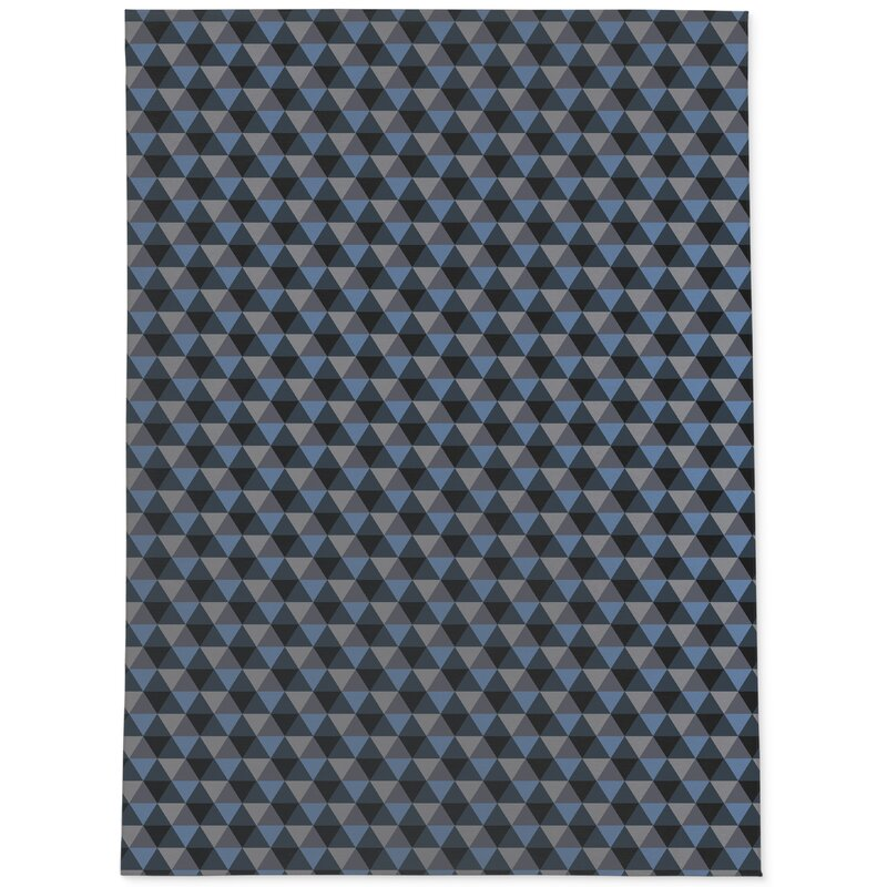 Wrought Studio Viers Prism Power Loom Blue Light Gray Black Rug Wayfair