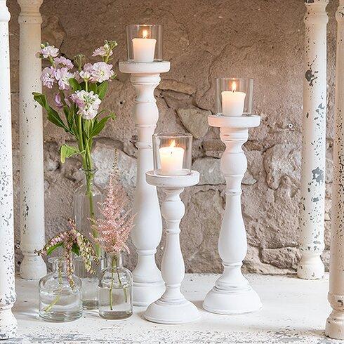 One Allium Way Shabby 3 Piece Glass Candlestick Set