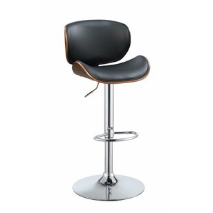 Justin Adjustable Height Swivel Bar Stool by George Oliver Find