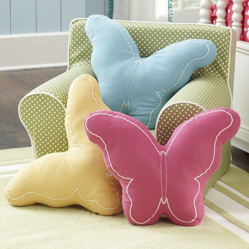 Harriet Bee Sprowston Butterfly Cotton Throw Pillow Reviews Wayfair