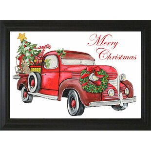 merry christmas red truck