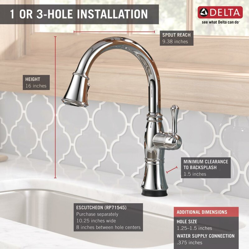 Delta Cassidy Pull Down Touch Single Handle Kitchen Faucet with and ...