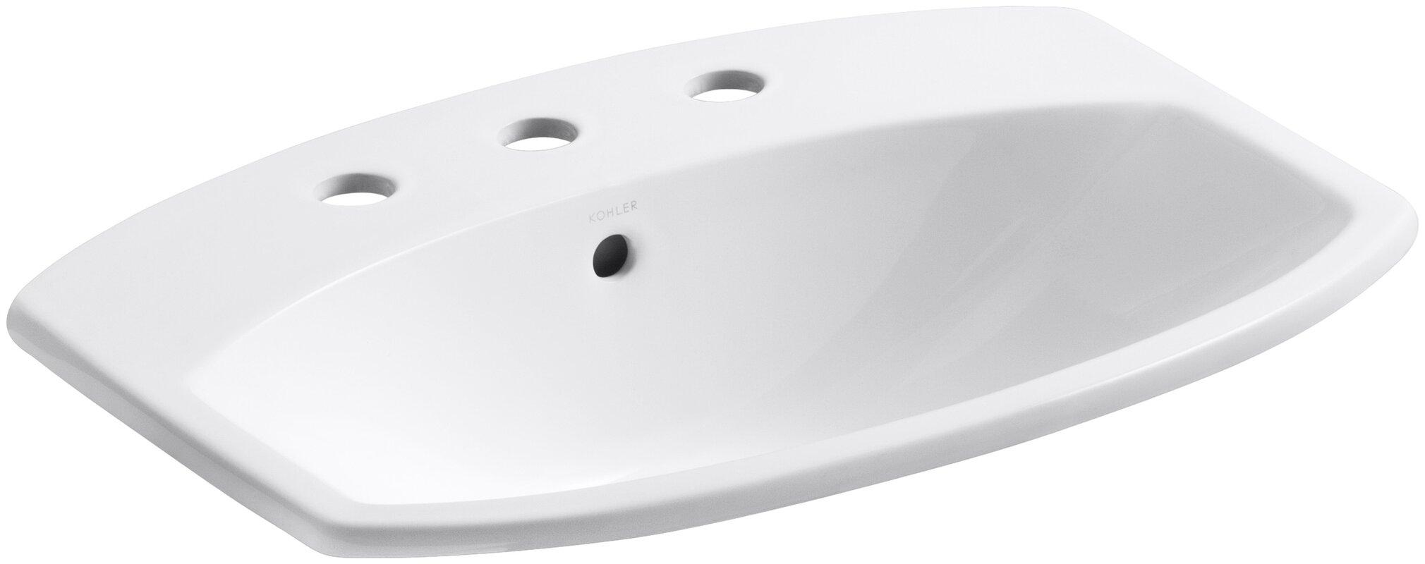Cimarron® Ceramic Rectangular Drop-In Bathroom Sink with Overflow