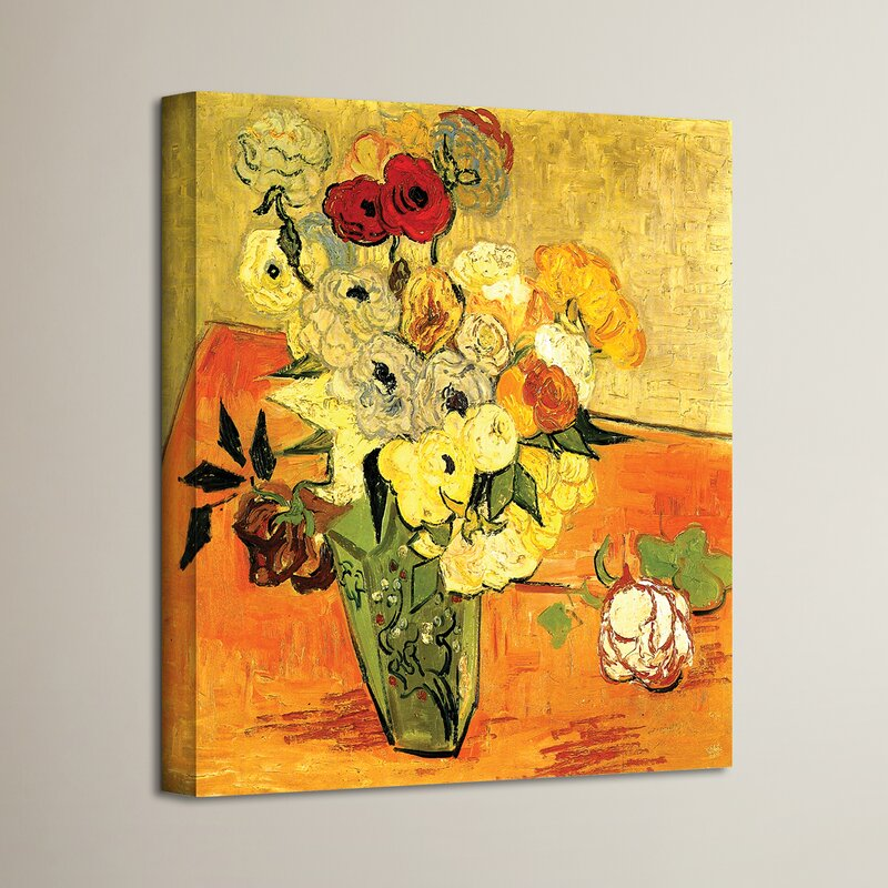 Charlton Home \u0027Japanese Vase with Roses and Anemones\u0027 by Vincent Van Gogh Painting Print on Canvas \u0026 Reviews   Wayfair & Charlton Home \u0027Japanese Vase with Roses and Anemones\u0027 by Vincent Van ...