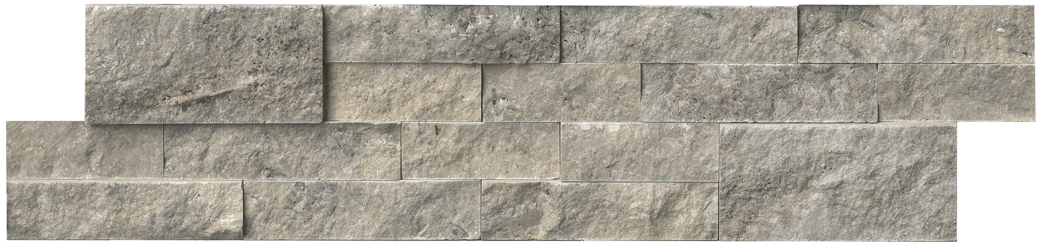 """MSI 6"""" x 24"""" Travertine Splitface Tile in Silver & Reviews"""