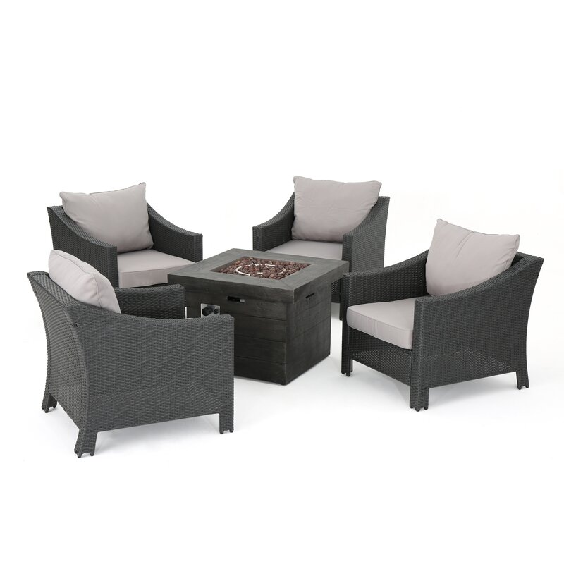 Shadai Wicker Outdoor 5 Piece Rattan Conversation Set with Cushions