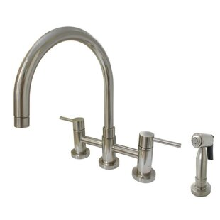 Bridge Centerset Double Handle Kitchen Faucet with Side Spray