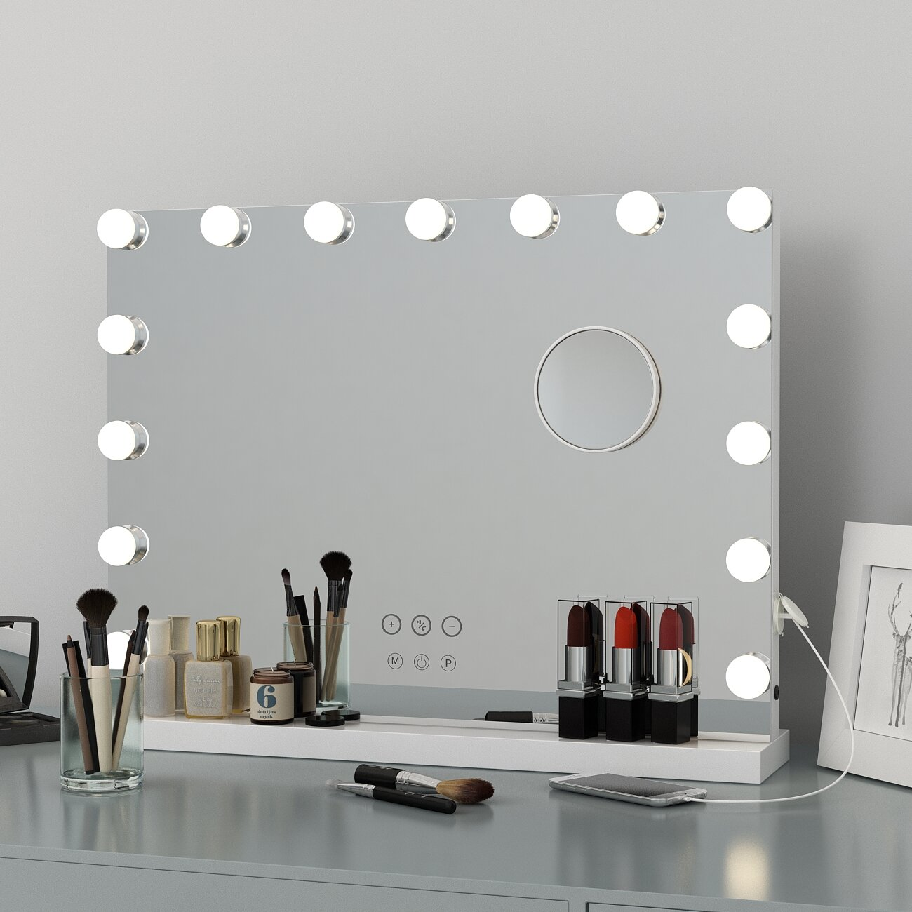 House Of Hampton Large Vanity Makeup Mirror With Lights Hollywood Lighted Mirror With 15 Pcs Dimmable Led Bulbs For Dressing Room Tabletop Mirror Or Wall Mounted Detachable 10x Magnification Spot Mirror Wayfair Ca