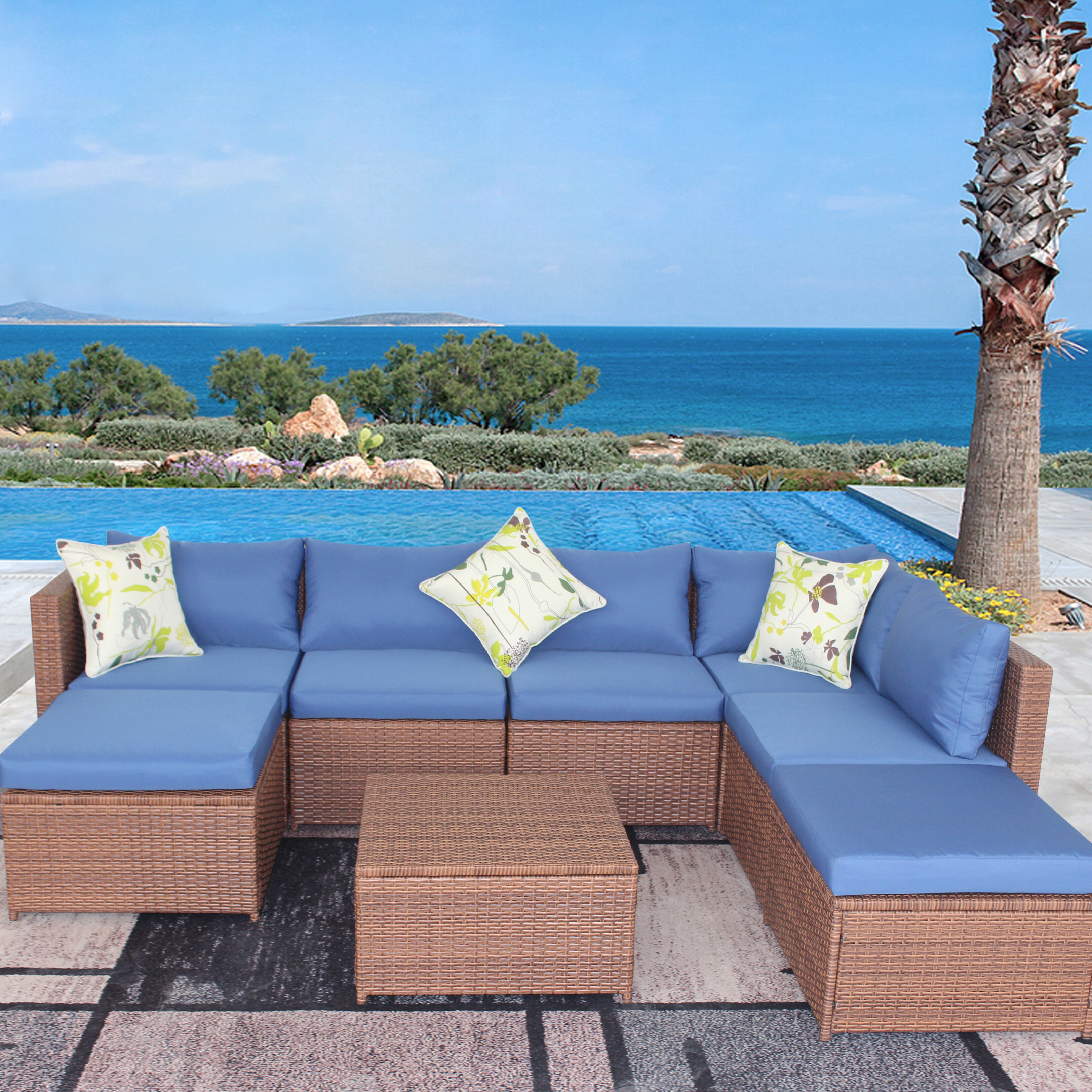 Latitude Run Davette 7 Piece Rattan Sectional Seating Group With Cushions Wayfair