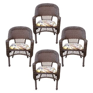 Belwood Resin Wicker Patio Dining Chair with Floral Cushion (Set of 4)