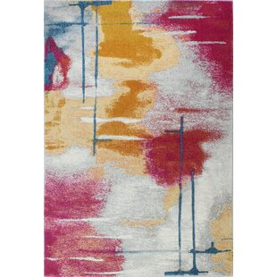 Reasor Red/Yellow Area Rug byWrought Studio