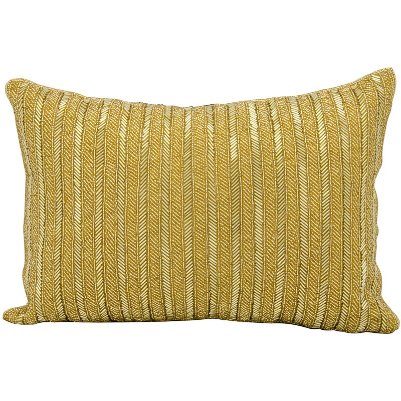 Michael Amini Beaded Stripes Lumbar Pillow
