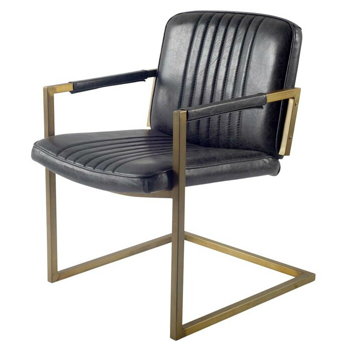 new arrival ac133 38adf Ariana Cantilever Genuine Leather Upholstered Dining Chair