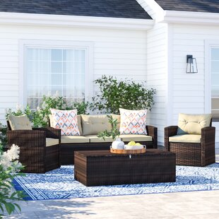 Arlington 4 Piece Rattan Sofa Seating Group with Cushions