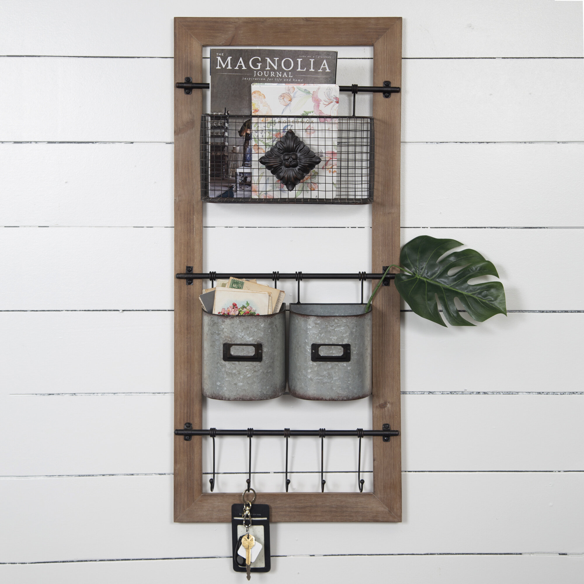 Gracie Oaks Asuka Metal and Wood Wall Organizer with Baskets and Hooks &  Reviews | Wayfair