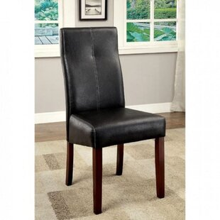 Westerville Upholstered Solid Back Side Chair in Black Set of 2 by Foundry Select