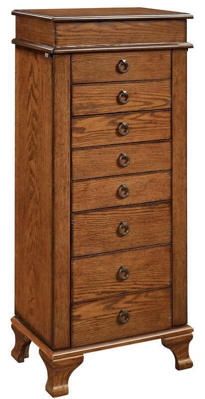 Bernard Free Standing Jewelry Armoire With Mirror