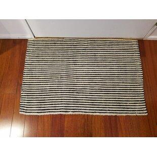 Black and Gray Vertical Wide Stripes Design Indoor Door Mat Rug