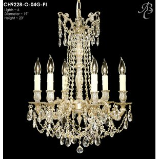 American Brass & Crystal Biella 6-Light Candle Style Chandelier