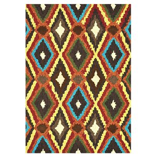 Mosher Hand-Hooked Brown/Red/Yellow Indoor/Outdoor Area Rug