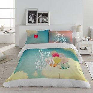Ebern Designs Sleep Less Dream More Cotton 3 Piece Queen Duvet Set