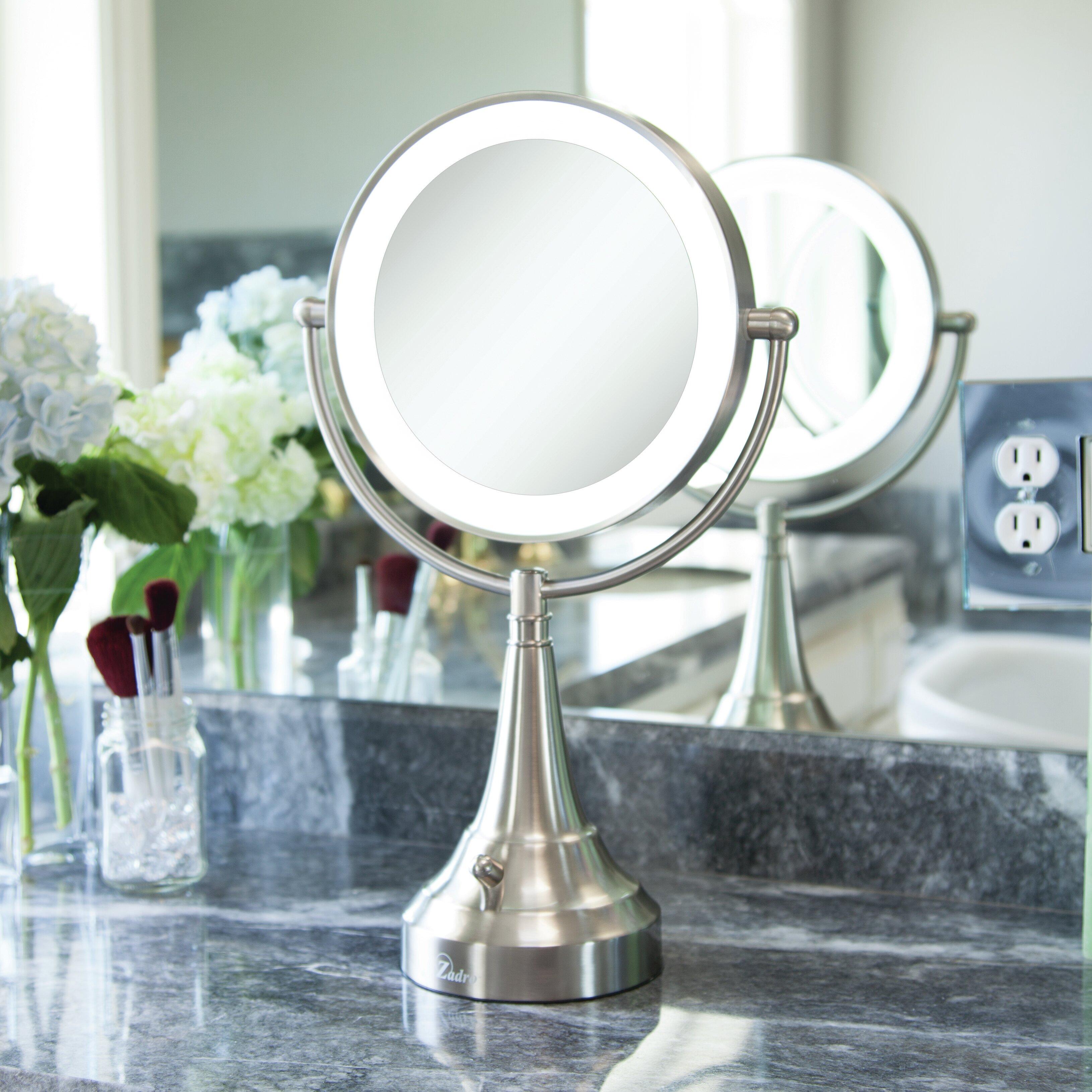 Symple Stuff Treyvon Round Metal Vanity Mirror With Led Surround Light Reviews Wayfair