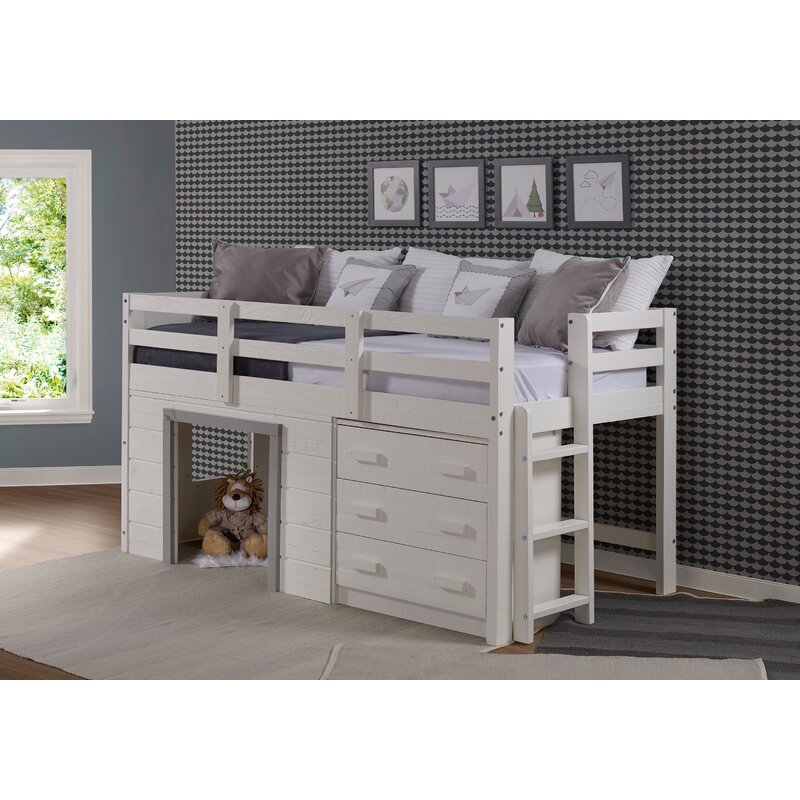 Harriet Bee Tressa Twin Low Loft Bed With Drawers And Shelves