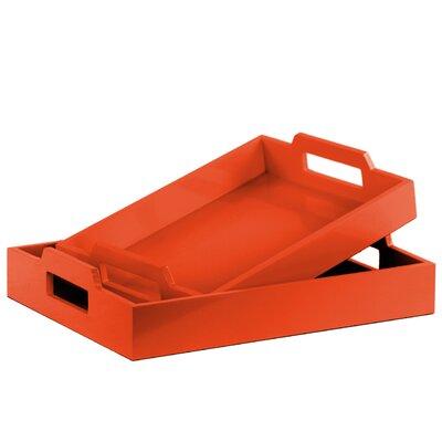 Zipcode Design Hogansville 2 Piece Rectangular Serving Tray Set Color: Orange