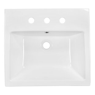 Coupon Ceramic Rectangular Vessel Bathroom Sink with Overflow ByAmerican Imaginations