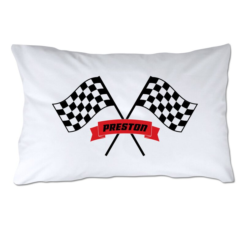 4 Wooden Shoes Personalized Checkered Racing Flags Pillow Case Wayfair