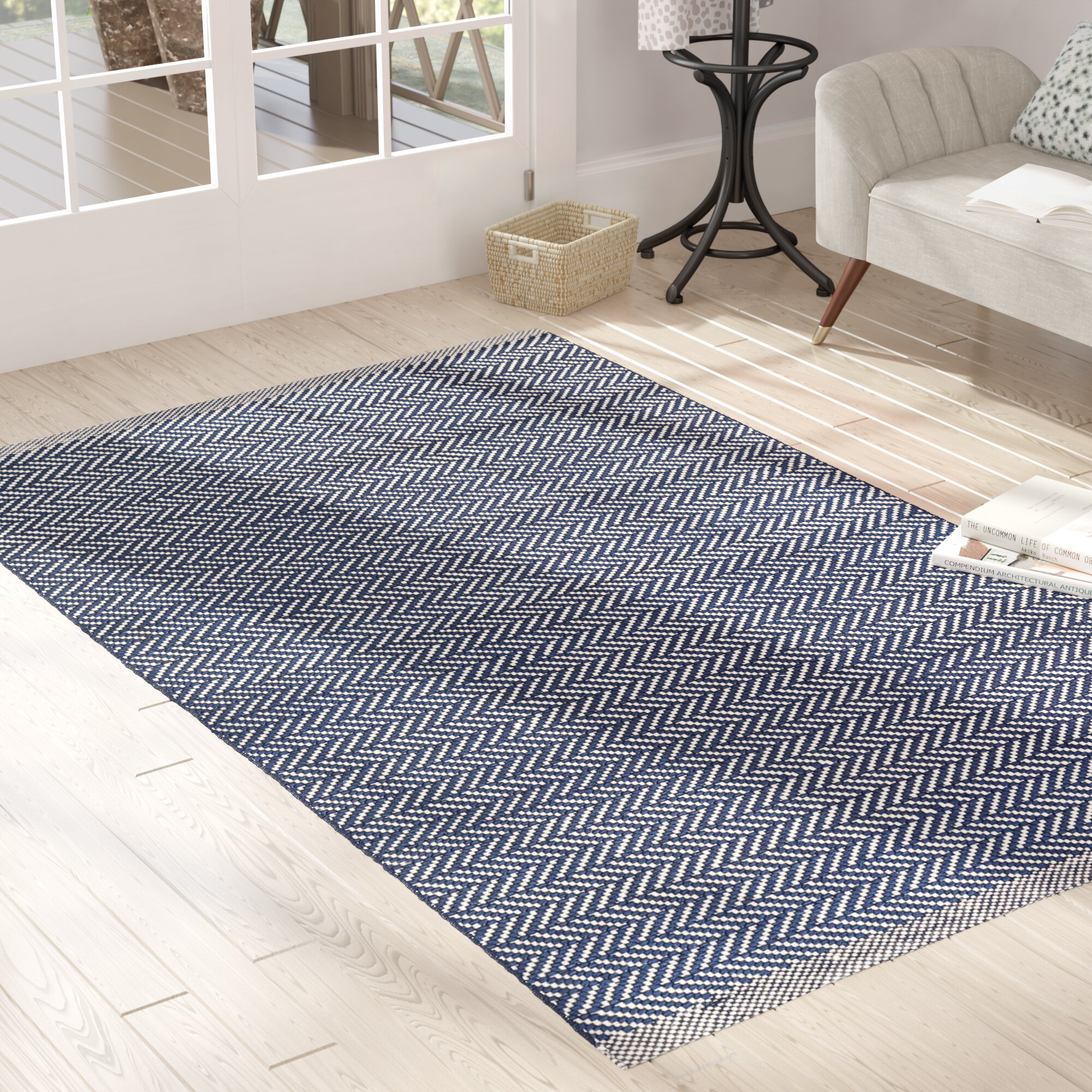 Handmade Flatweave Blue Area Rug