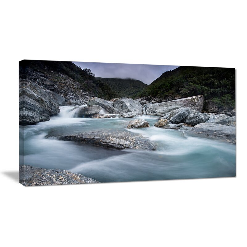 Ebern Designs Slow Motion Mountain River And Rocks Landscape Photographic Print On Wrapped Canvas Wayfair