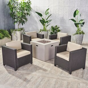 Gracie Oaks Ortonville Outdoor 5 Piece Rattan Sofa Seating Group with Cushions