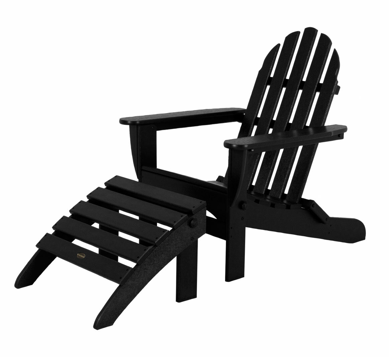 Classic Adirondack Plastic Resin Folding Chair With Ottoman Reviews Joss Main