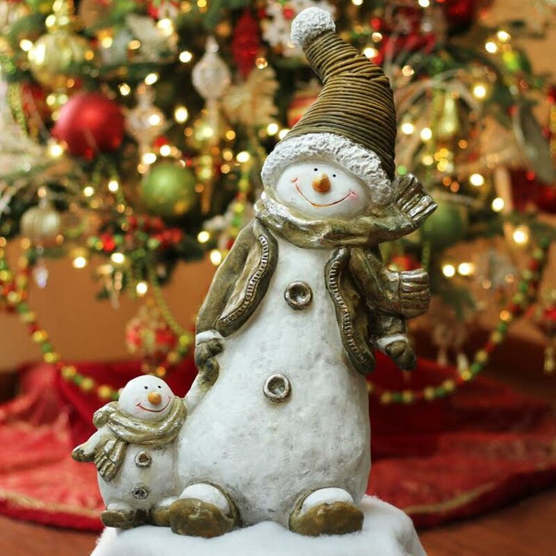 Whimsical Snowshoeing Ceramic Christmas Snowman With Snow Baby Tabletop Figure