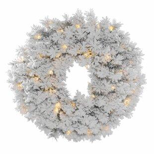 Flocked Alaskan Lighted Christmas Wreath With 50 Dura-Lit Lights By The Seasonal Aisle