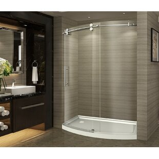 ZenArch 60 x 75 Single Sliding Completely Frameless Bowfront Shower Door By Aston