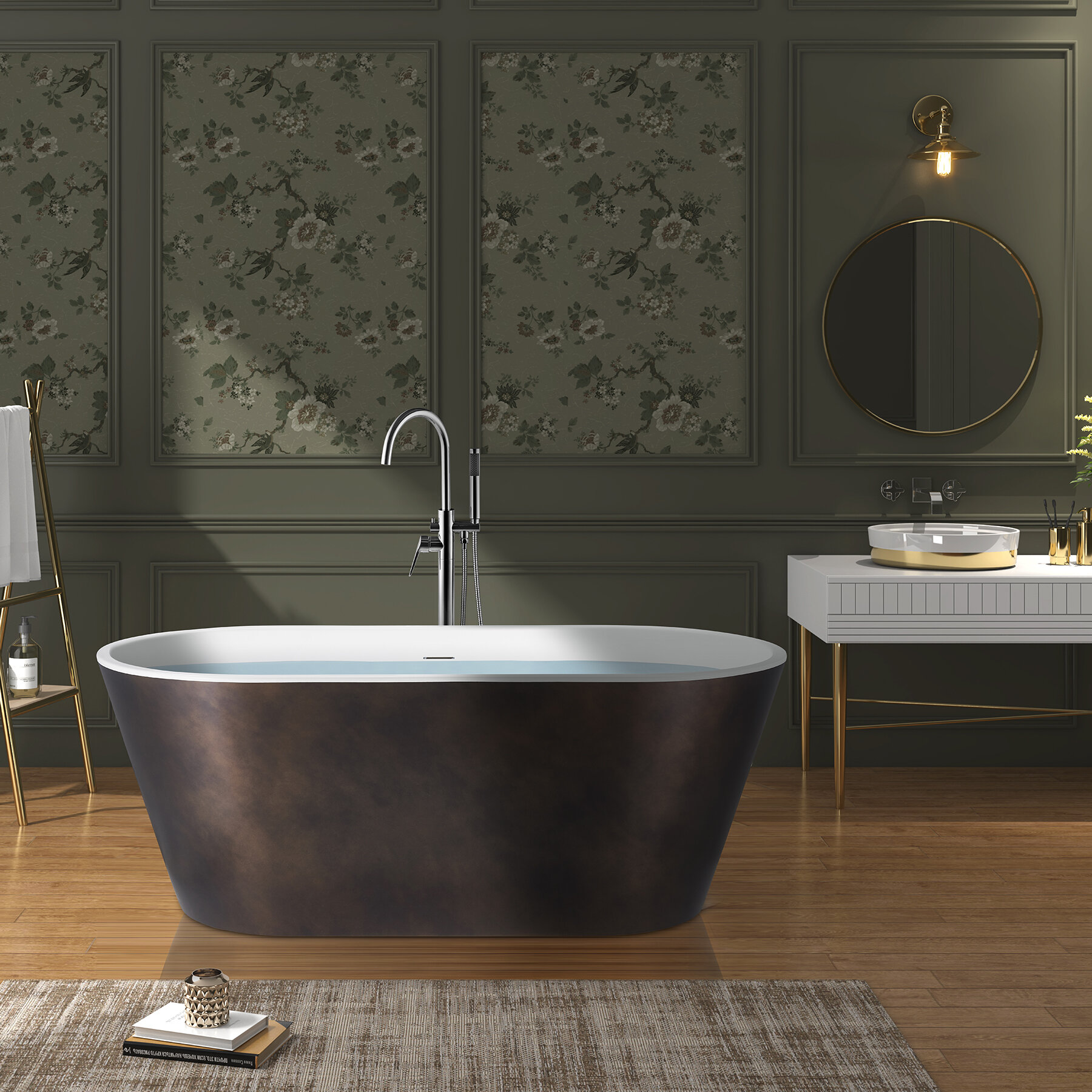 Picture of: Akdy Freestanding Bathtub 67 Inch Matt Antique Brass Acrylic Bathtub Modern Stand Alone Tub Wayfair Ca