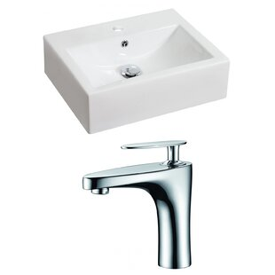 Buying Above Counter Ceramic Rectangular Vessel Bathroom Sink with Faucet and Overflow By Royal Purple Bath Kitchen